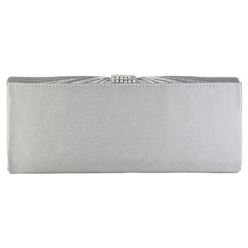 Prom Ladies Womens Pleated Silver Handbag Clutch Wedding Diamante Bag Bridal Bow Satin qqwrEZ0