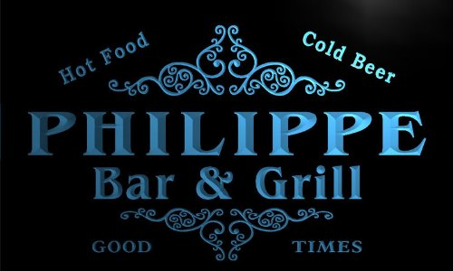 u34942-b PHILIPPE Family Name Bar & Grill Home Brew Beer Neon Sign
