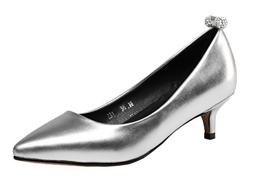 Odomolor Women's PU Closed-Toe Low-Heels Pull-On Solid Court Shoes Silver V7C615CmyJ