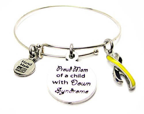 Awareness Syndrome Down Ribbon - Proud Mom Of A Child With Down Syndrome With Awareness Ribbon Single Stacker Bracelet by ChubbyChicoCharms