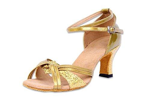 latino WX de verano de punta Mujer baile Zapatillas Zapatillas 40 de adultos de baile baile 33 dorado Zapatillas Botín de XW para abierta dxw7TOd