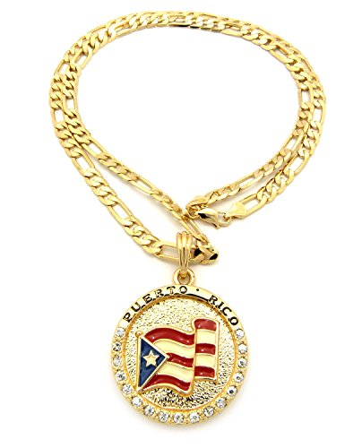 Flag of Puerto Rico Rhinestone Medal Pendant with 5mm 24