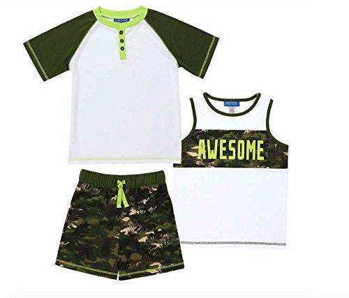 Saint Eve Kids' Boys 3-Piece Summer Pajama Set - Tank, Tee & Shorts (Awesome Camo, X-Small 6/6X)