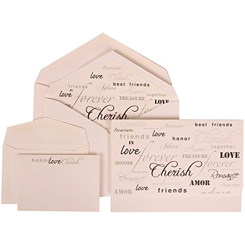 Honor Invitation Card (JAM Paper® Wedding Invitation Combo Set - 1 Large & 1 Small - White Card with Honor Love Cherish Lined Envelope with Honor Love Cherish -)