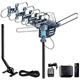 CeKay Digital TV Antenna Outdoor Antenna Amplified HDTV Antenna Motorized 360 Degree Rotation 150 Miles with 40FT RG6 Coax Cable & Mounting Pole Snap-On Installation - UHF/VHF/1080P