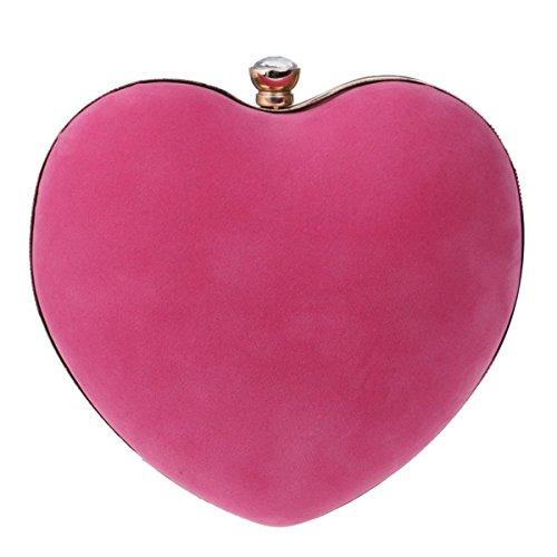 Clutch Heart De Compras color Red Bolso Suede Bridge Blue Cosmético Mano Noche Pink Peach Mujer Crossbody RqYxHw8