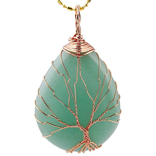 TUMBEELLUWA Tree of Life Pendant Necklace, Teardrop Shape Healing Crystals Jewelry for Women,Green Aventurine ()