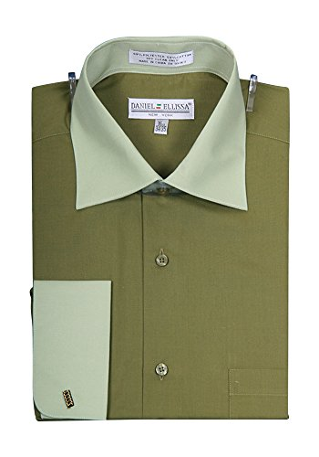 Men's Two Tone French Cuff Shirt - Olive 17.5 36-37 (Cuff French Tone Shirts Two Mens)