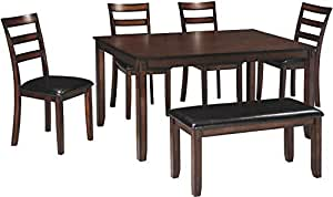 Tremendous Ashley Furniture Signature Design Coviar Dining Room Table And Chairs With Bench Set Of 6 Brown Bralicious Painted Fabric Chair Ideas Braliciousco