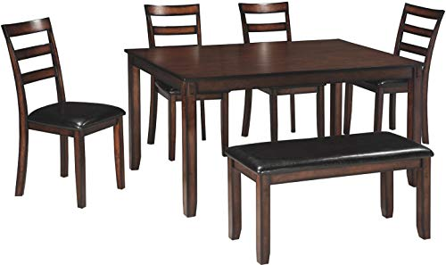 Ashley Furniture Signature Design – Coviar Dining Room Table and Chairs with Bench Set of 6 – Brown