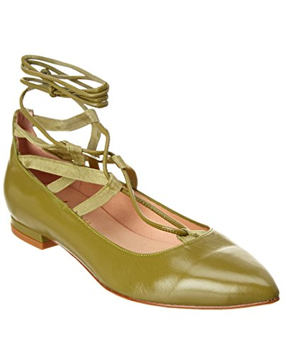 French Sole Ophelia Leather Flat, 7.5, Green