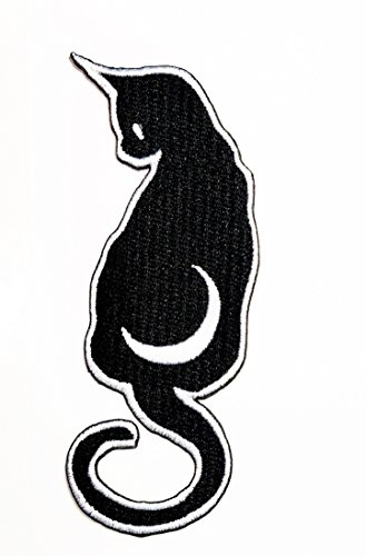 Black Cat Halloween patch Ideal for adorning your jeans, hats, bags, jackets and shirts.