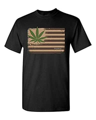 Pot Leaf USA Flag T-shirt Marijuana 420 Shirts Small Black XIT 12967 (Hippie Acc)