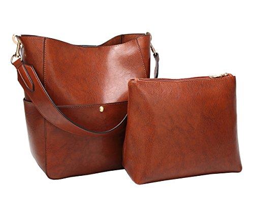 Molodo Womens Satchel Hobo Stylish Top Handle Tote PU Leather Handbag Shoulder Purse by Molodo (Image #7)