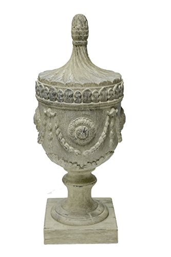 Sagebrook Home 11118 Decorative Urn Finial, Antique White Polyresin, 7 x 7 x 17.5 Inches