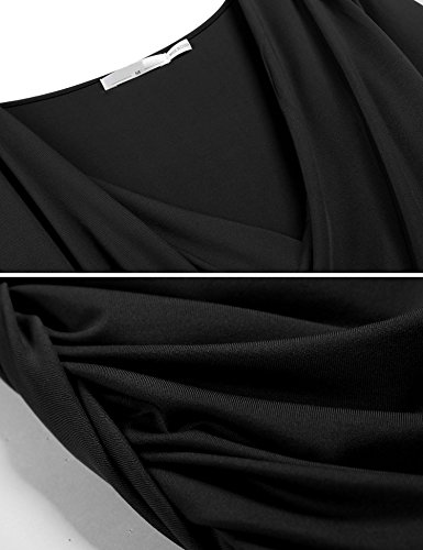 scollo Angvns Bodycon Moda con Incrocio Fasciante Nero Lunghe Corta profondo Aderente A Abito Portafoglio Mini Maniche a Increspato Vestito rSfOXnqf
