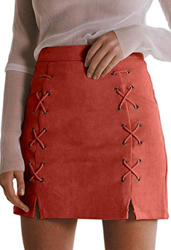 (katiewens Women's Classic High Waist Lace Up Bodycon Faux Suede A Line Mini Pencil Skirt Brick Red)