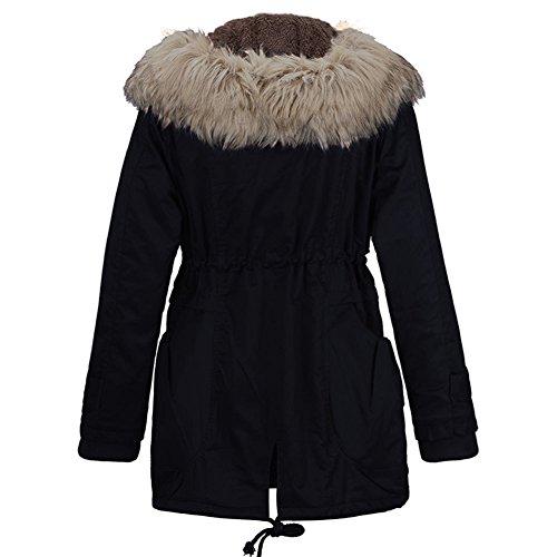 Doudoune Blouson et Hiver Manteau Parka Epaisse Veste Mode Fourrure lgant Chaud Chic Femme Noir Chaud Casual Fashion Fausse Lger YzAqFa