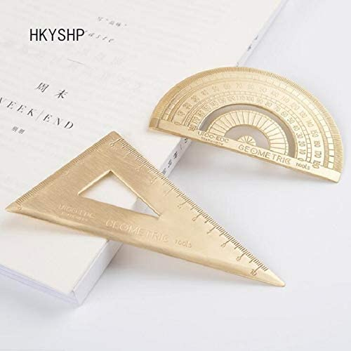 Retro Brass Copper Triangle Semicircle Ruler Golden Protractor Drawing Ruler UK