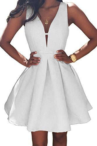 Women's V-Neck A-line Satin Short Homecoming Dress Formal Evening Party Gown Ruched Skirt Size 12 White