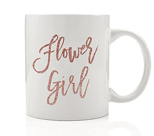 Flower Girl Coffee Mug Gift Idea Wedding Party, Faux Pink Glitter Little Girl Present for Child, Niece, Best Friend Daughter, Young Lady, Family - Beautiful 11oz Ceramic Tea Cup by Digibuddha DM0192