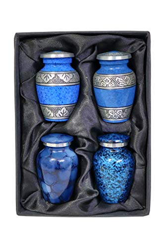 Small Cremation Keepsake Urns Set of Four – Mini Urns and keepsakes – Set of 4 Keepsake Urns For Human Ashes Remains Mini Cremation Urns, Black Gift Box, 4 Velvet Pouches and Funnel