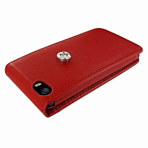 Piel Frama Ledertasche Classic Magnetic RACE Edition Rot/Blau für Apple iPhone 5 / 5S