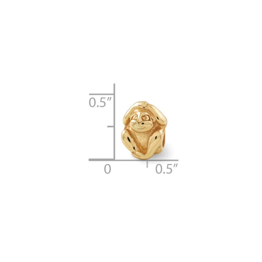8.2mm x 10.9mm Jewel Tie Sterling Silver Gold-Toned Reflections Monkey Bead