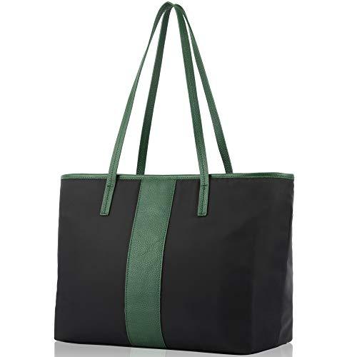 fioritura Women Shoulder Bag, Lightweight Nylon Tote Bag Casual Handbag - Forest Green