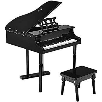 Goplus Classical Kids Piano, 30 Keys Wood Toy Grand Piano w/ Bench, Mini Musical Toy for Child (Black)