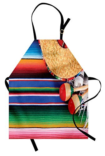 Lunarable Mexican Apron, Mexican Culture Theme with Sombrero Straw Hat Maracas Serape Blanket Rug Picture, Unisex Kitchen Bib Apron with Adjustable Neck for Cooking Baking Gardening, Multicolor