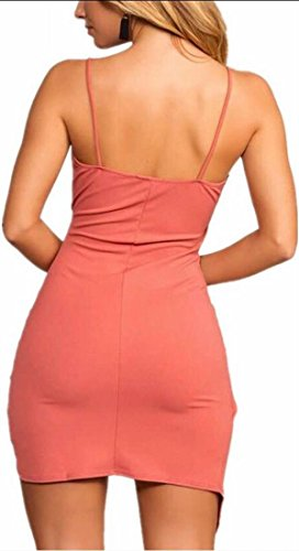 Neck Sleeveless Spaghetti V Women Strap s Pink Swing Dress Sundress Jaycargogo tYAaqgwY