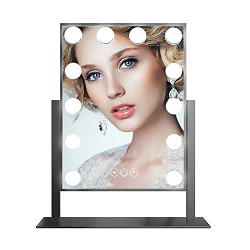 FENCHILIN Hollywood Mirror with Light Large Lighted Makeup Mirror Vanity Makeup Mirror Smart Touch Control 3Colors Dimable Light Detachable 10X Magnification 360°rotation