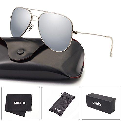 ANMIX Aviator Polarized Sunglasses for Men & Women with Eyeglasses Case - UV - Framed Gold Eyeglasses
