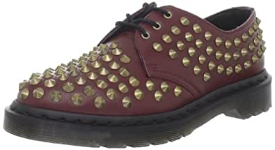 Dr. Martens Women's Harlen Shoe,Cherry Red Smooth Studded,4 UK/6 M US