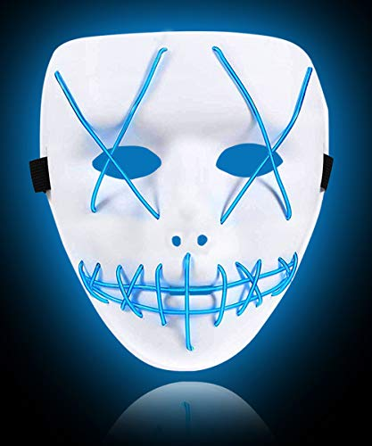 Purge Mask Halloween LED Mask Glow in The Dark for Halloween Party Costumes Blue