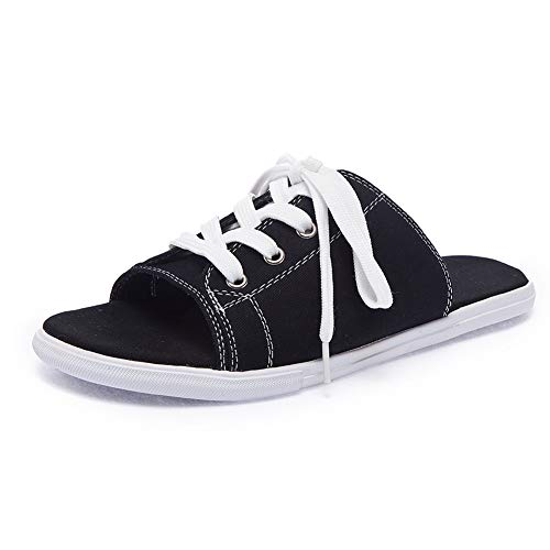Sokaly Women's Slide Sandal Canvas Lace up Fashion Sneaker Soft Indoor Outdoor Beach Slippers Slip On Shoes (8.5 M US, ()
