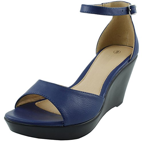 Cambridge Select Women's Open Toe Ankle Strappy Platform Wedge Sandal (9 B(M) US, Royal Blue) (Blue Platforms)