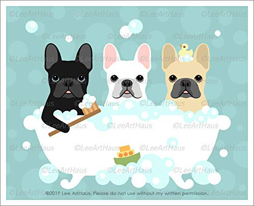 662D - Three French Bulldogs in Bubble Bath Bathtub UNFRAMED Wall Art Print by Lee ArtHaus