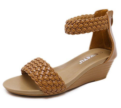 (SUNETEDANCE Women's Wedge Sandals with Crystal Rhinestone Ankle Strap Slip On Mid Heel Pumps with Zipper, Classic Tan PU, 9 B(M) US)