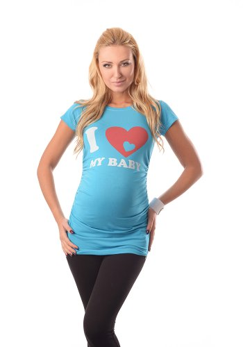 Purpless Maternity Love Baby Top- Camiseta Para Embarazada 2005 Sky Blue