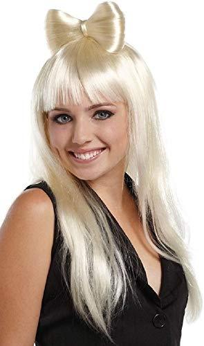 (Ladies Sexy Long Blonde or Light Pink Hair Bow Lady Gaga Nicky Minaj Celebrity Fancy Dress Costume Wig)