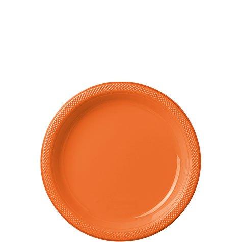 Amscan Reusable Party Dessert Plates Tableware, Orange Peel, Plastic, 7