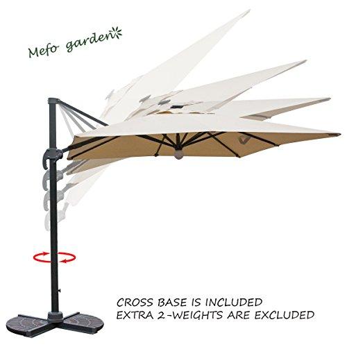 Mefo Garden 8.5 By 8.5 Feet Aluminum Square Cantilever Patio Umbrella  360 Degree Rotation