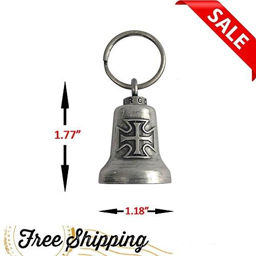 DREAM APPAREL Gun Metal Iron Cross Gargoyle Bell w/Carrier - Iron Metal Cross