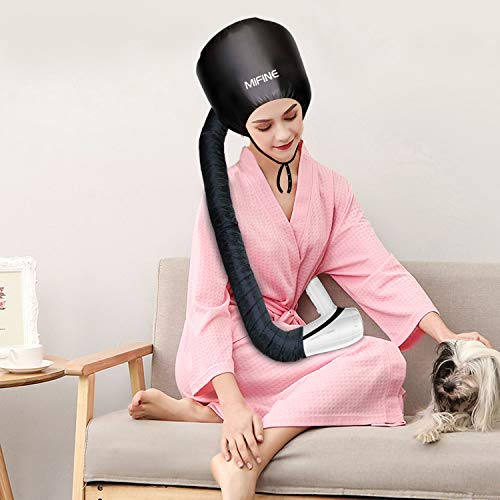 Bonnet Hood Hair Dryer Attachment - Adjustable Extra Large Bonnet Hair Dryer for Hand Held Hair Dryer with Stretchable Grip and Extended Hose Length (Black)