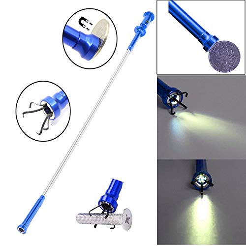 Enbar (Blue) Claw-Type Magnetic Pick-up Tool with LED Lights 4 Claw Claws, for Garbage Pick up.