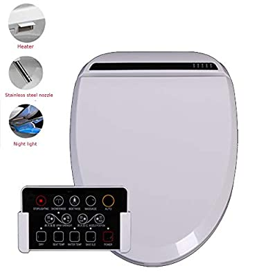 Smart Heated Bidet Toilet Seat with Dual Nozzle & Massage Control Bamboo Charcoal Deodorization Night Light and Sensor Function