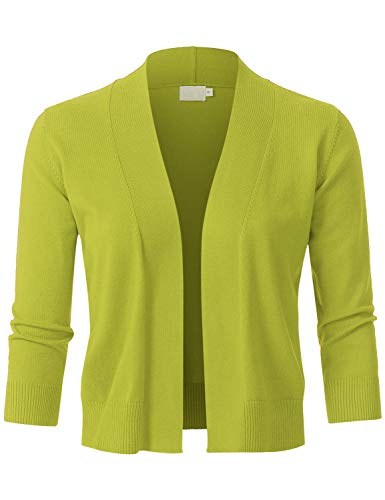 JSCEND Womens Classic 3/4 Sleeve Open Front Cropped Bolero Cardigan Lime XL