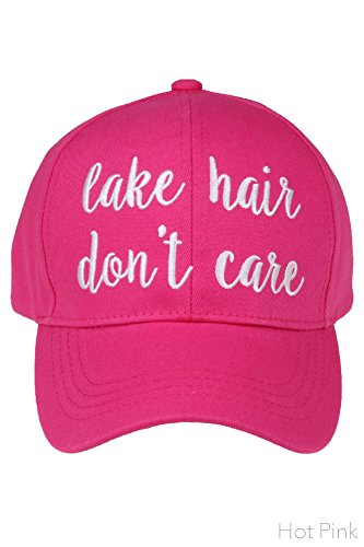 ScarvesMe C.C Women's Embroidered Lake Hair Don't Care Adjustable Cotton Baseball Cap (Hot (Quote Womens Cap)